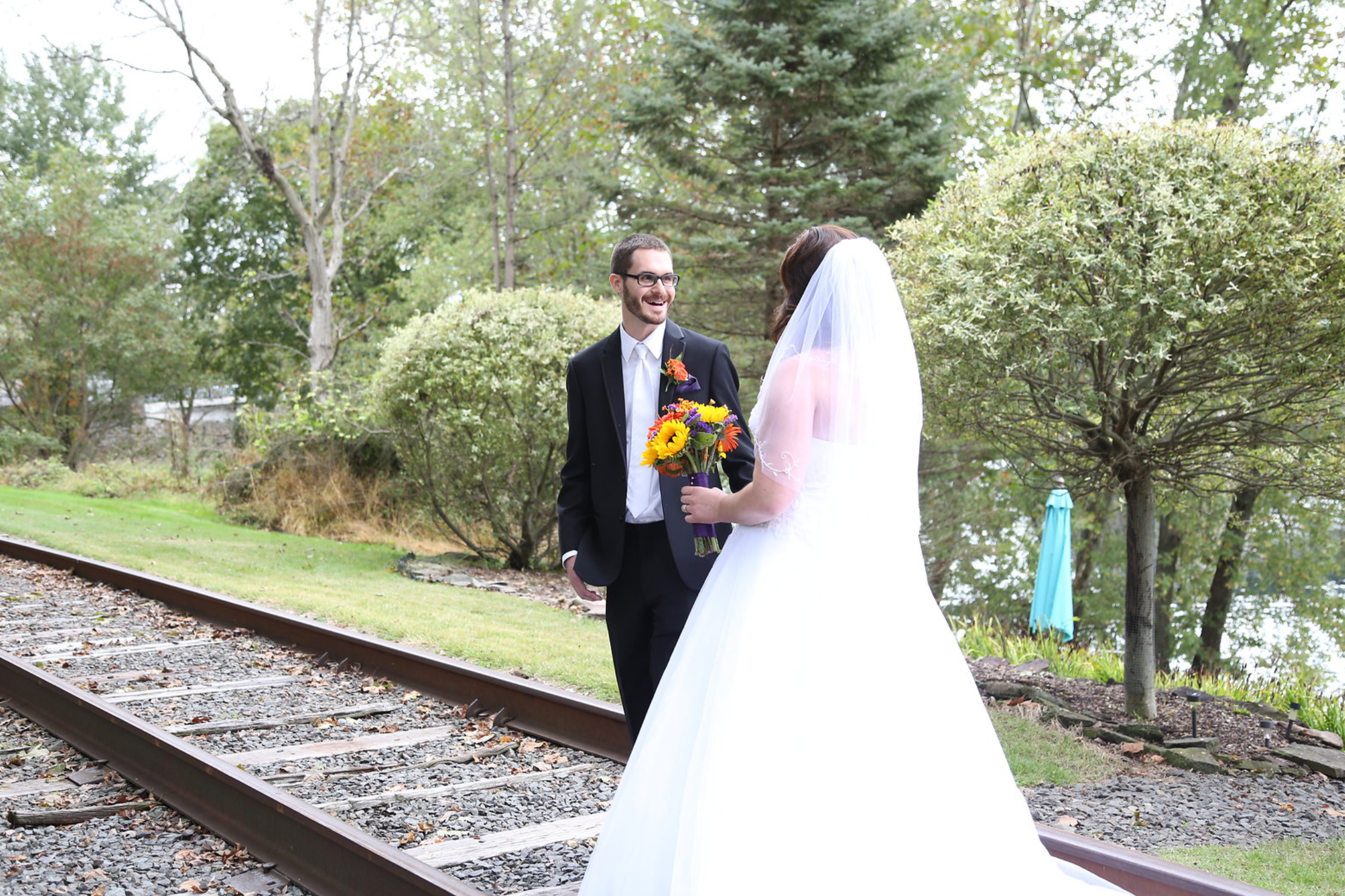wedding first look train