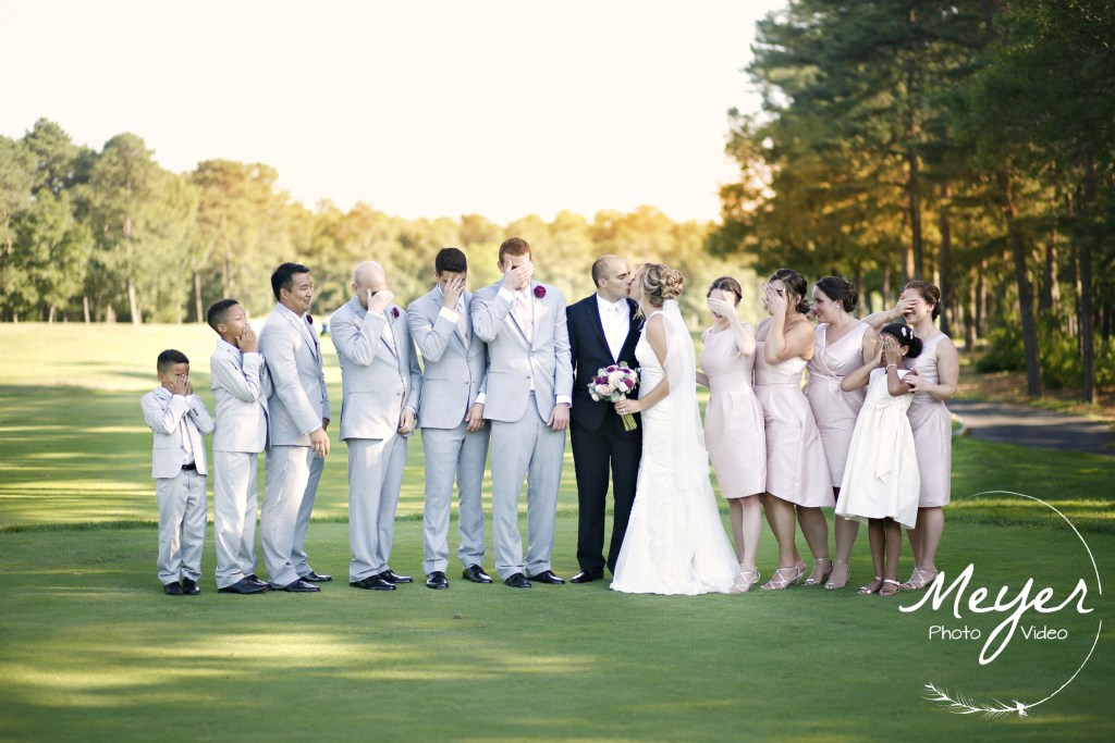 sunset photo of bridal party