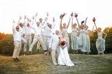 bridal party at sunset portrait NJ