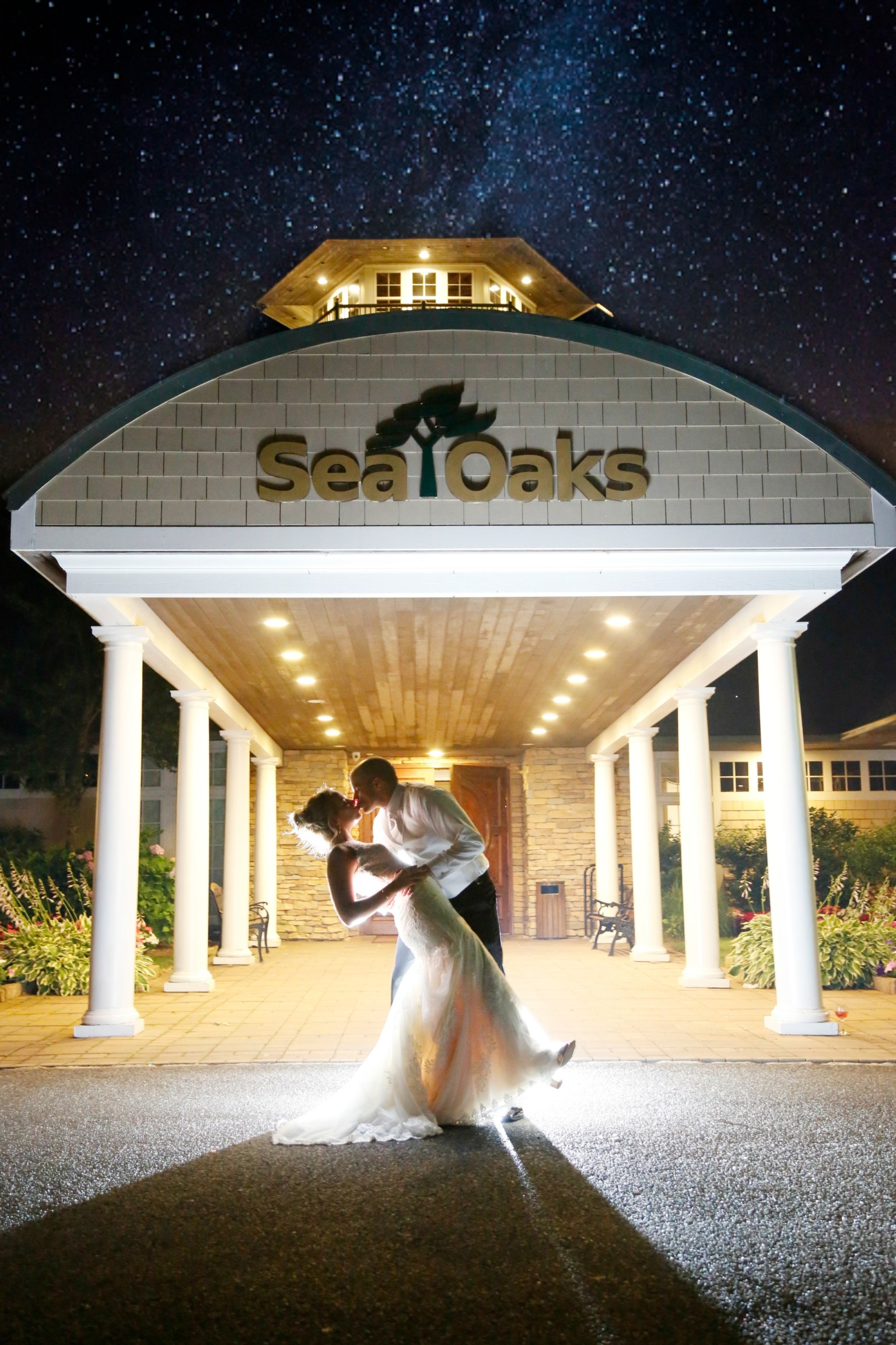 sea oaks country club in tuckerton at night wedding venue stars