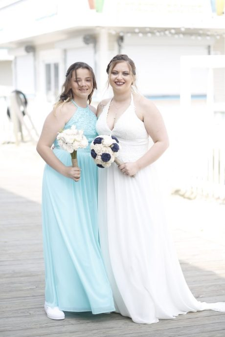 bridesmaid and bride