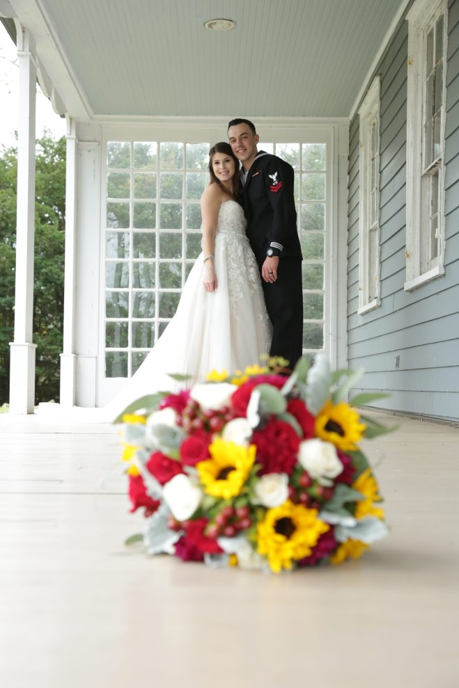 the bride and groom outside