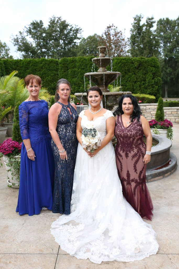 the bride with family