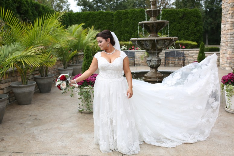 the brides dress in the wind