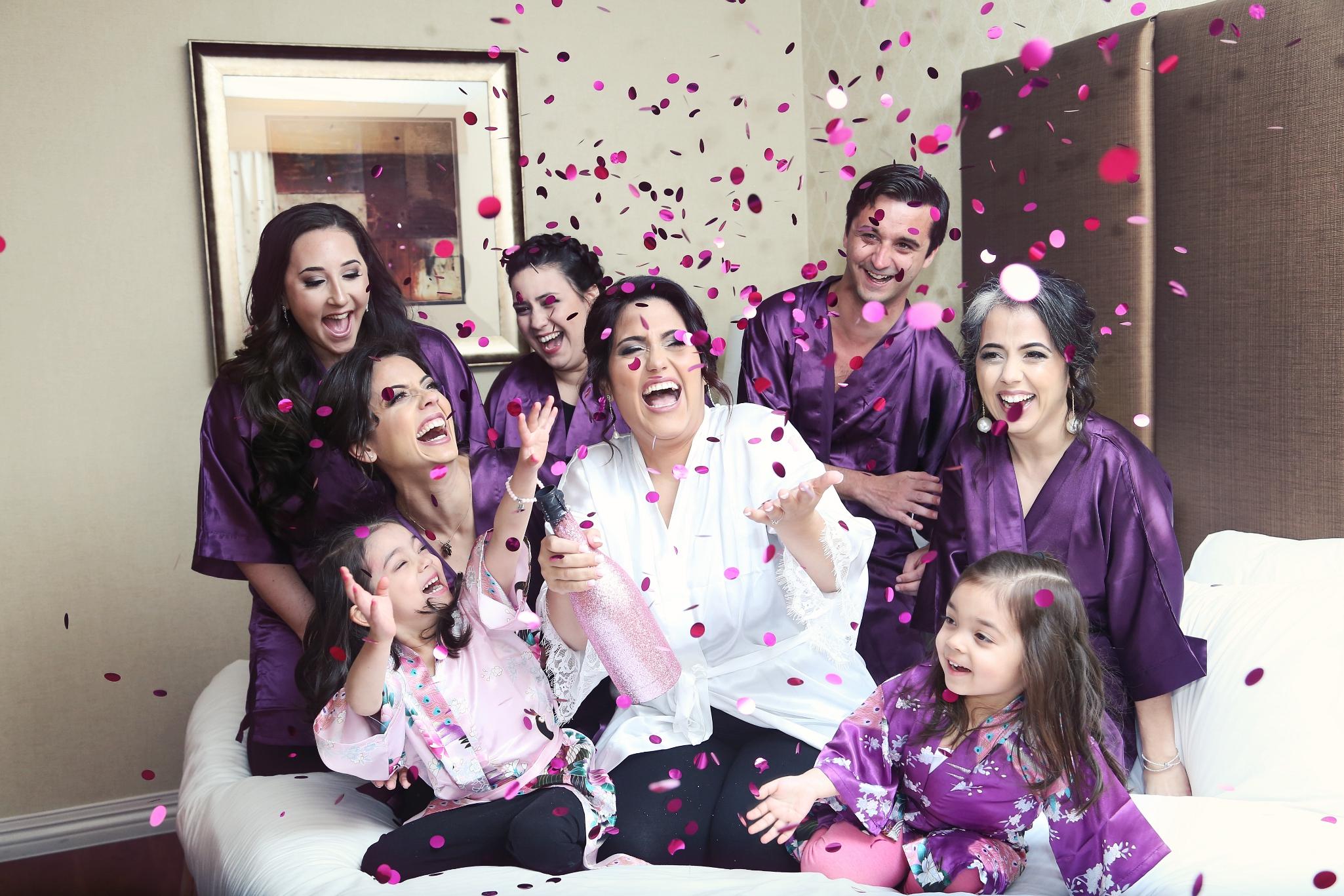 NJ Wedding Photographers bride with confetti