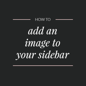 How to add an image to your sidebar