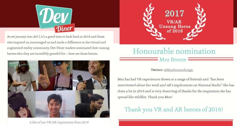 2017 Honourable Nomination: VR/AR Unsung Heros