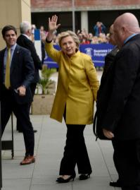 Hillary Clinton arrives at Swansea University, where she is expected to receive an Honorary Doctorate in recognition of her commitment to promoting the rights of families and children around the world, in Swansea, Wales, Saturday, Oct. 14, 2017. (Ben Birchall/PA via AP)