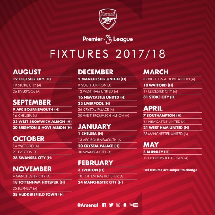 2017-18 Arsenal fixtures