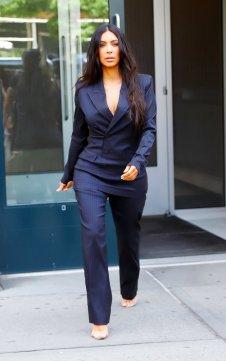 Kim-Kardashian-Blue-Pinstripe-Suit