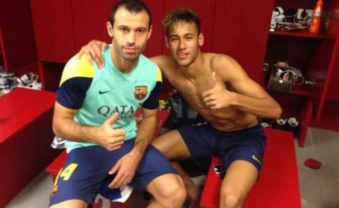 Javier Mascherano and Neymar