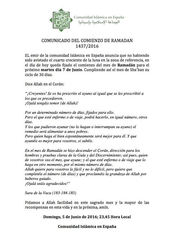 COMUNICADO DEL COMIENZO DE RAMADAN 1437/2016