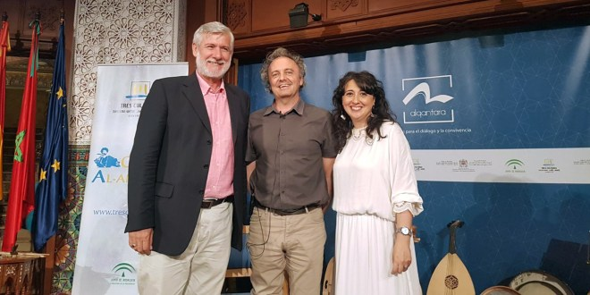 Khalid Nieto with Virginia Luque and Emilio González Ferrín at the Three Cultures Foundation