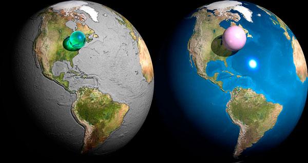 Till vänster: Jordens samlade vatten i relation till planetens storlek. Till höger: Jordens samlade atmosfär i relation till planetens storlek. Bilden är skapad av Adam Nieman.