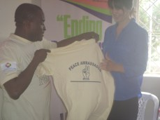 Back print of the shirt presented to Ms Maggie