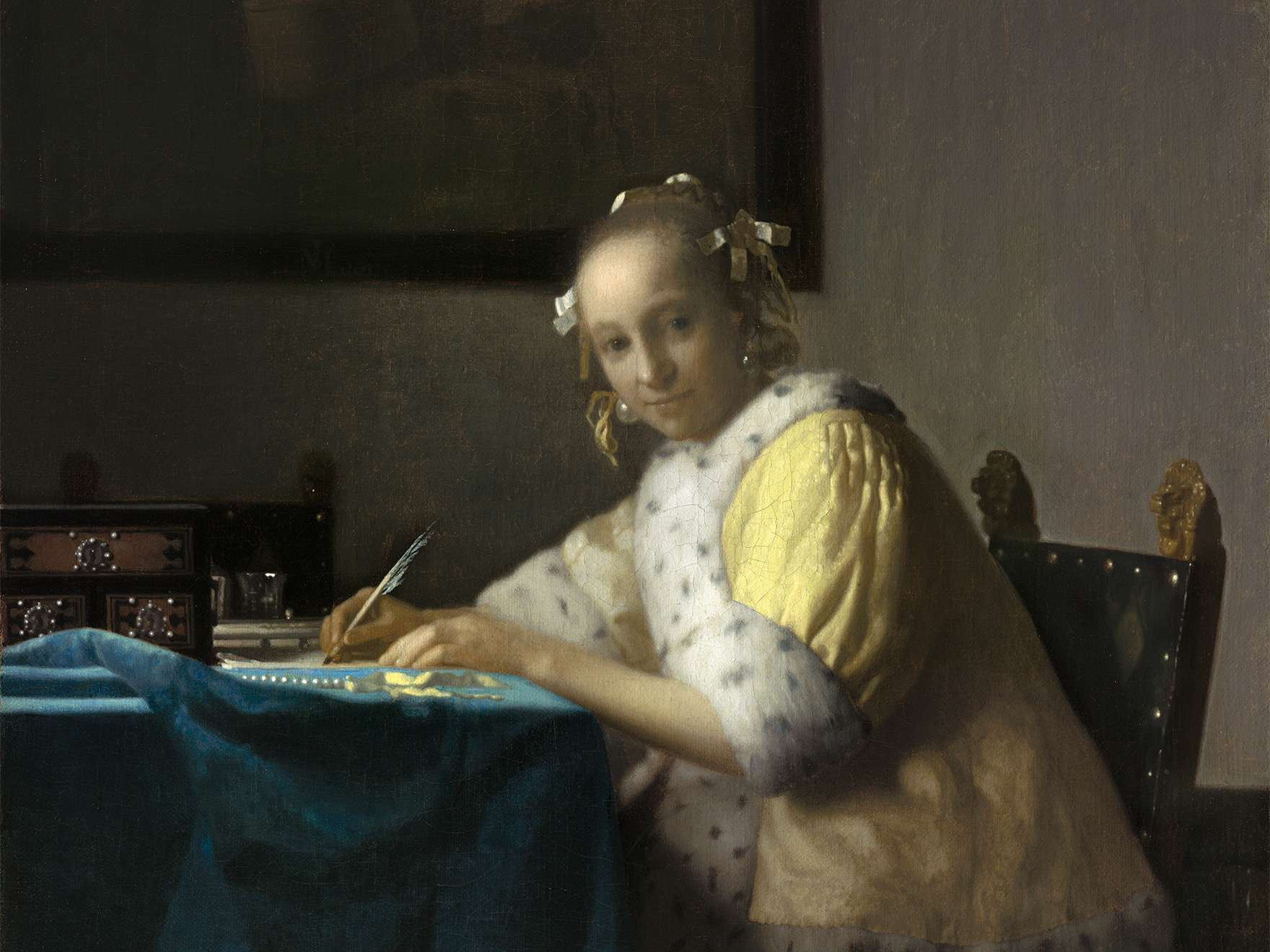 Johannes Vermeer, A Lady Writing, about 1665, On loan from the National Gallery of Art, Washington, DC.