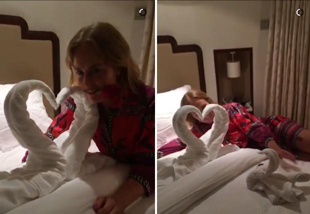Angélica na suíte do navio (Foto: Reprodução Snapchat)