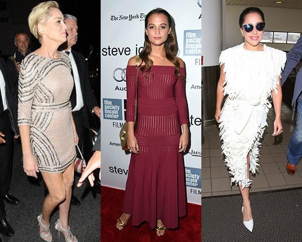 Sharon Stone, de Patricia Bonaldi; Alicia Vikander, de Barbara Casasola; Lady Gaga, de Lenny Niemeyer (Foto: Getty/ Divulgação)