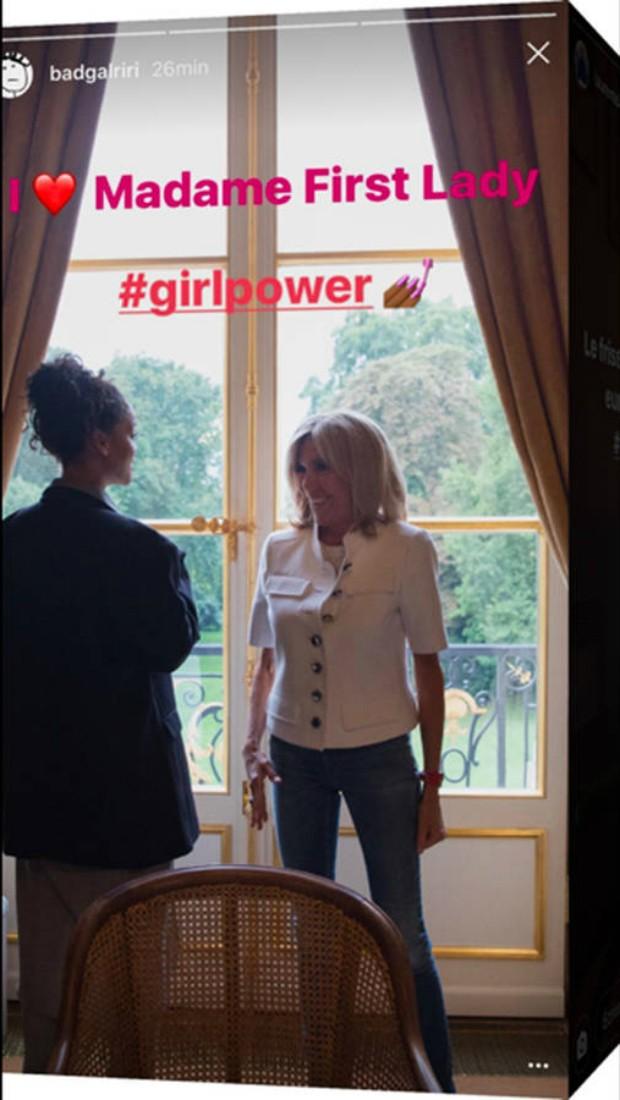Riri encontrou também com Brigitte Macron (Foto: Reprodução/Instagram)
