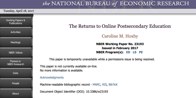 "Screen shot from April 18 of NBER page showing that the ""paper is temporarily unavailable while a permissions issue is being resolved""."