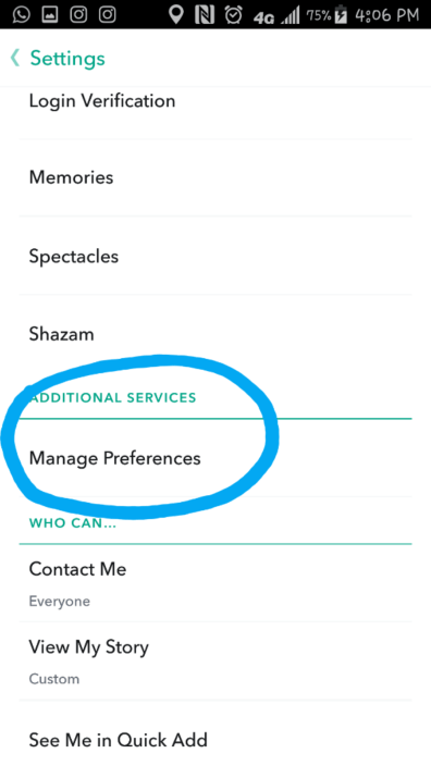 Tap on the Settings cog in the upper right corner. Under Additional Services, tap on Manage Preferences