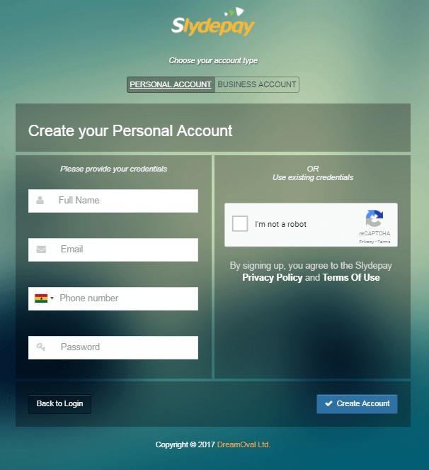 Registration Screen for Slydepay
