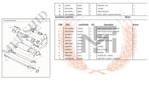 MF375 SPARE PARTS QUADRANT SUPPORT