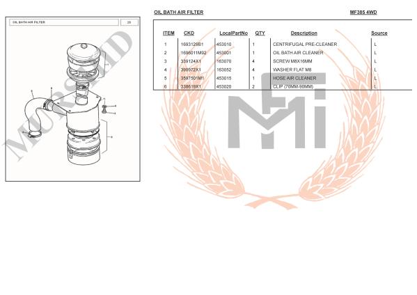 MF385 4WD SPARE PARTS OIL BATH AIR FILTER