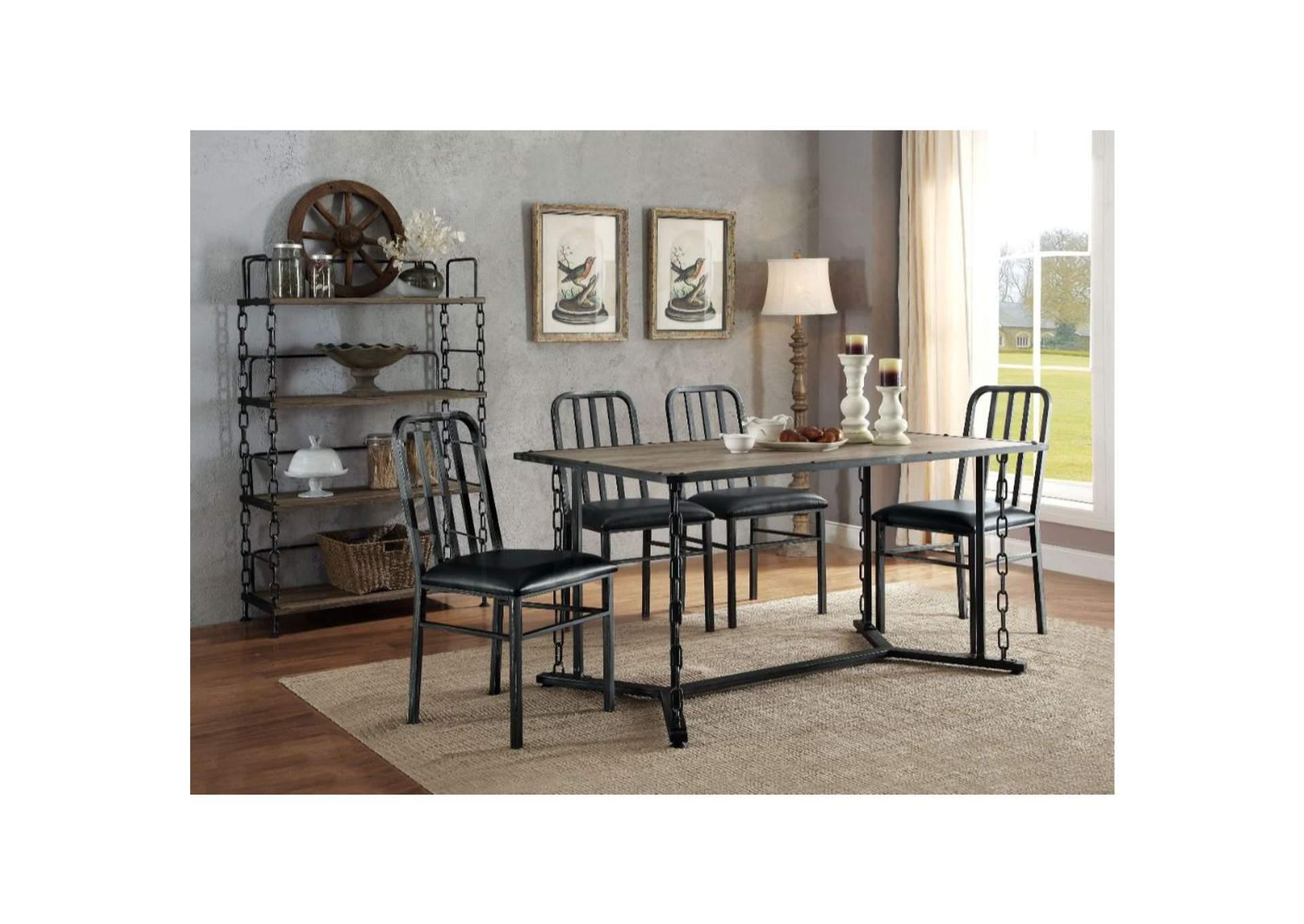 Jodie Rustic Oak Black Dining Table Jerusalem Furniture Philadelphia