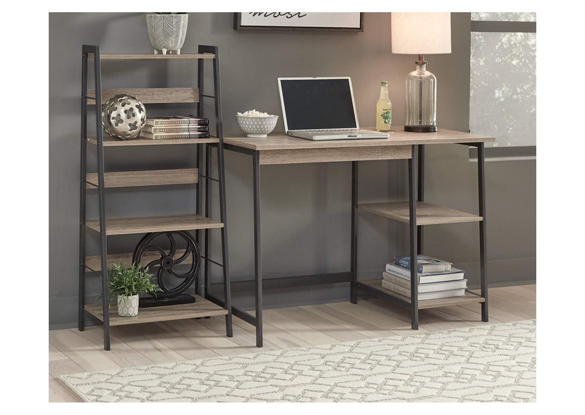 Soho Brown Black Home Office Desk And Shelf Ivan Smith
