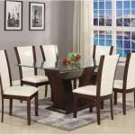 Camelia Rectangular Glass Top Dining Room Table W 6 White Side Chairs Adams Furniture And Appliance