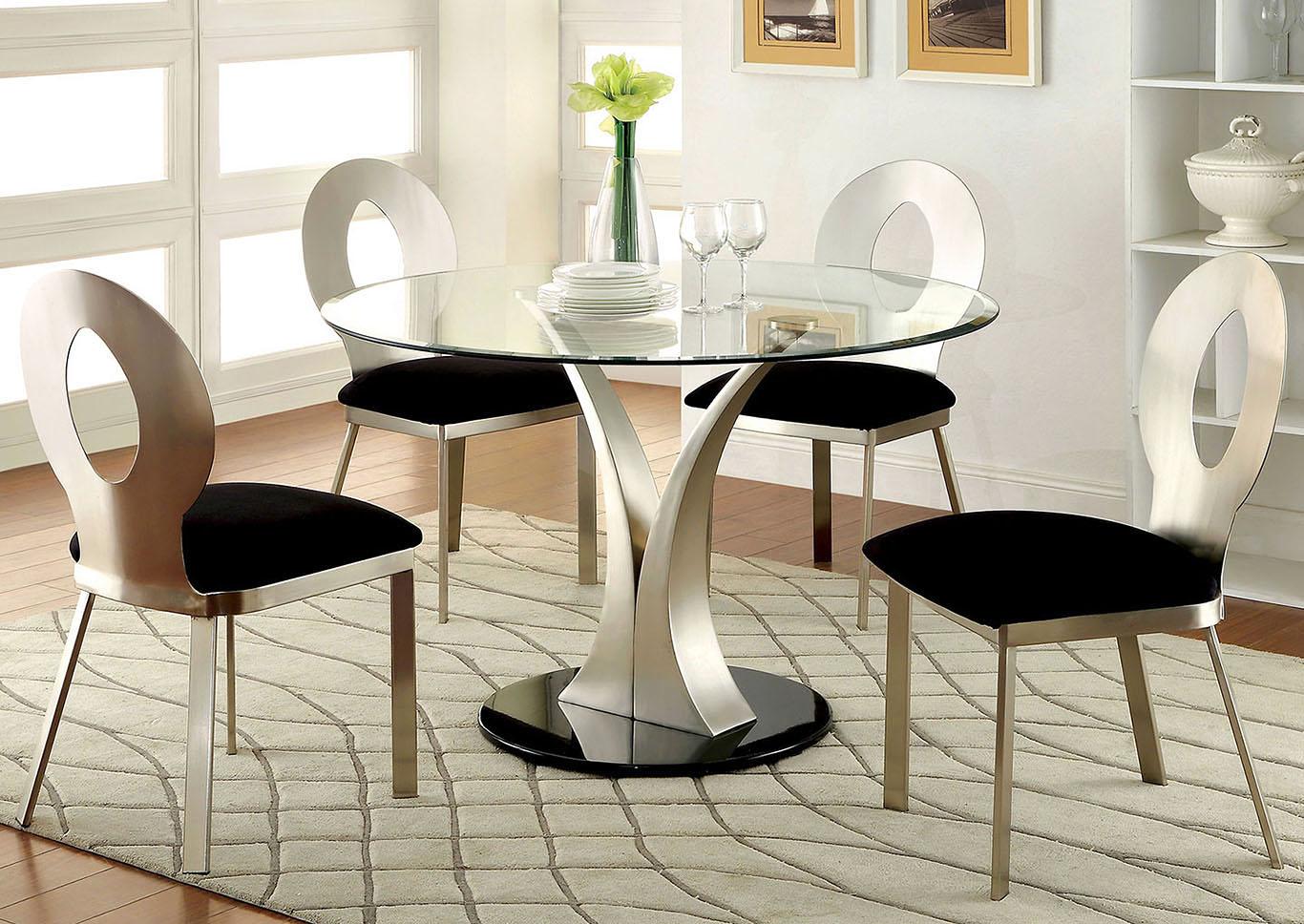 Valo Silver Black Dining Table W 4 Side Chair Renaissance Philadelphia Pa