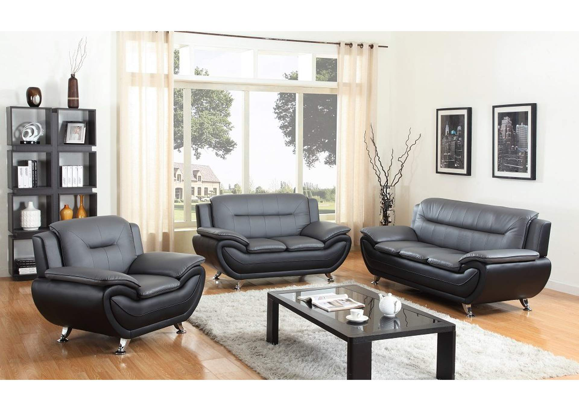 Grey Black Leather Sofa Loveseat W Chrome Legs The Furniture Outlet Ny