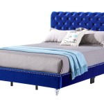 Cobalt Blue Velvet Micro Suede Tufted Upholstered Queen Bed Rbs Furniture Bronx Ny