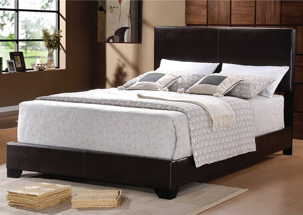 dark brown king faux leather bed bob s