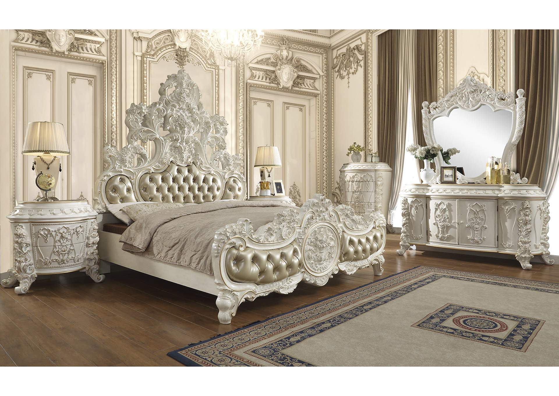 Antique White Gold Eastern King Bed Sam S Furniture And Mattress