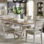 Farmhouse Reimagined White Brown Rectangular Extension Leaf Dining Table Country House Furniture
