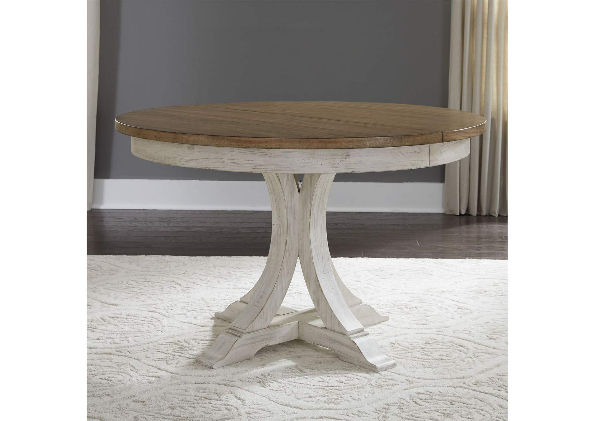 Farmhouse Reimagined White Brown Round Extension Leaf Dining Table Country House Furniture