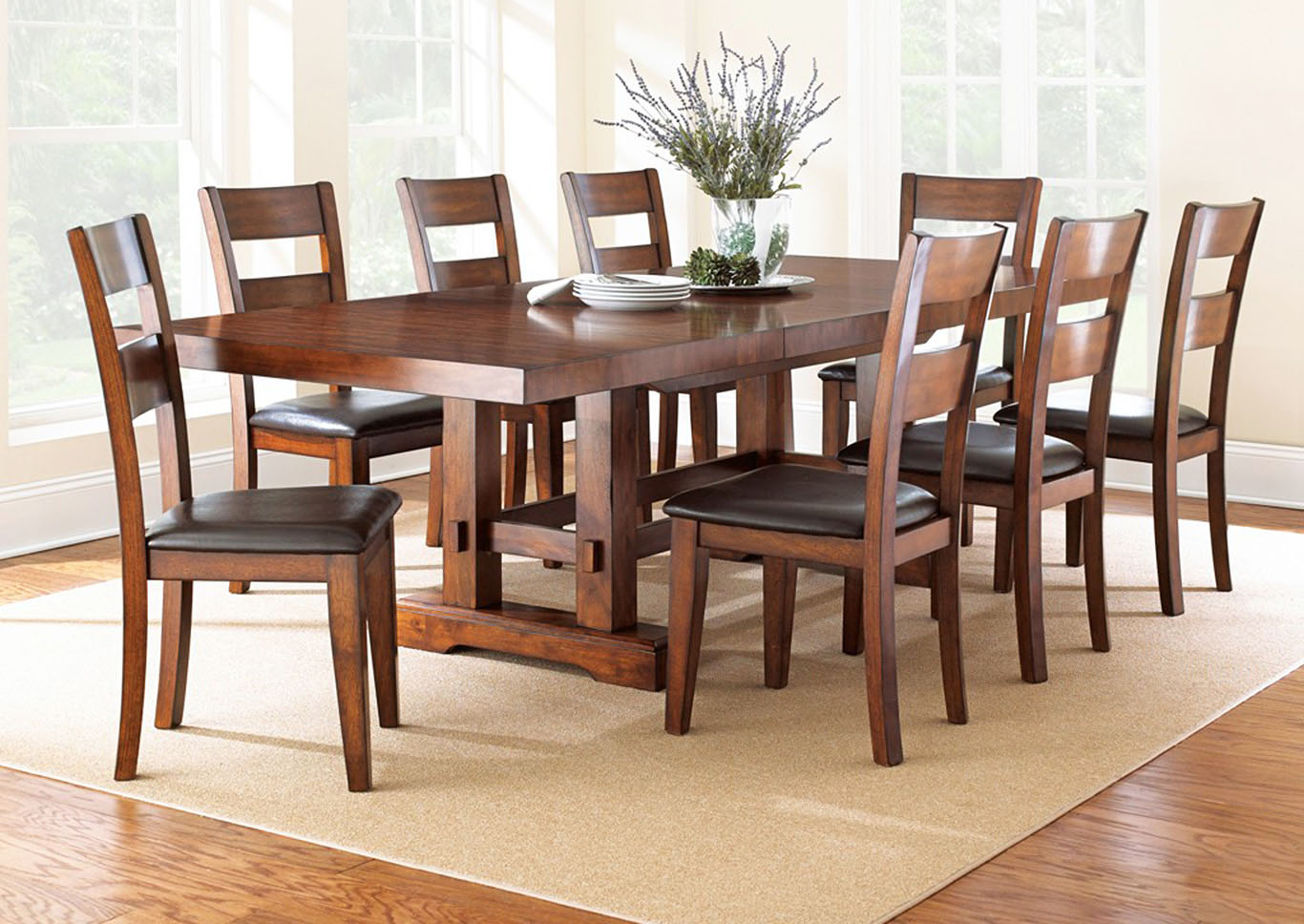 Zappa Cherry Rectangular Dining Set W 8 Chairs Ivan Smith