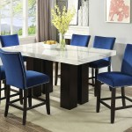 Camila Brown Rectangular Marble Top Dining Set W 6 Chairs Blue Velvet Ivan Smith