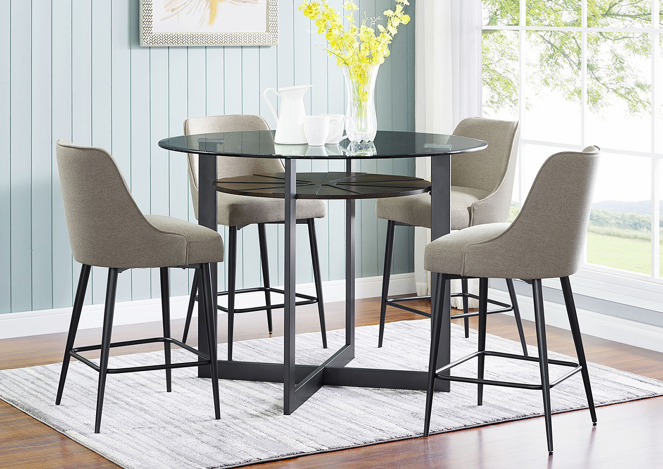 Olson Grey Round Glass Top Counter Dining Set W 4 Chairs Ivan Smith