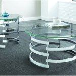 Tayside Metallic Round Glass Top Cocktail End Tables Ivan Smith