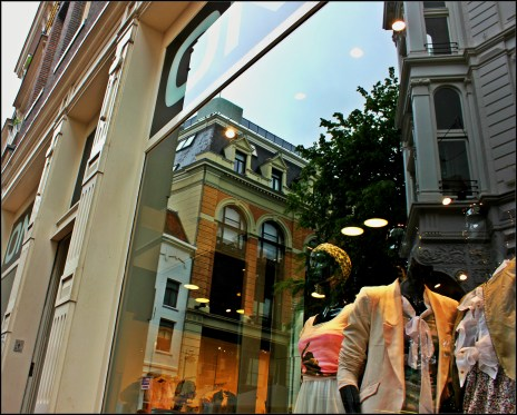 Only window on shopping streets in amsterdam
