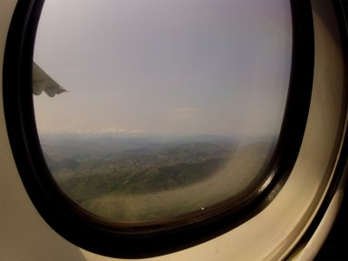 flying over the mountains from vietnam to laos