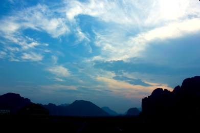view from my room in vang vieng