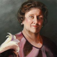 """Carolyn P. Gibson, Wife of the Artist"""" 2013 20×16 oil on wood panel 1400 pixw"""