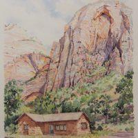 2019 Grotto House, plein-air watercolor, 7.5×9.25