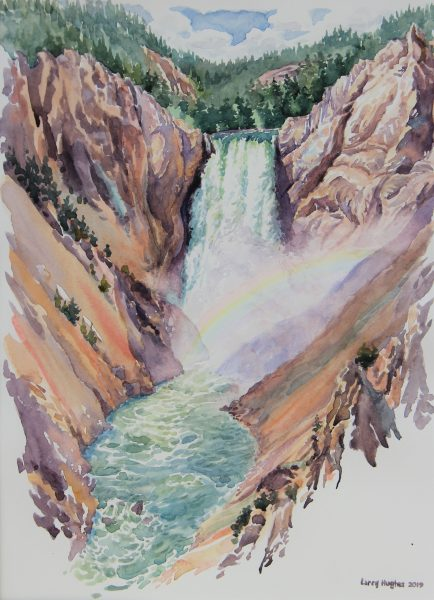 2019 Plein-Air Sketch of the Lower Falls, Red Rock Point Trail, watercolor, 9×12.25