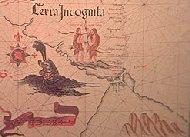 Estrecho de Magallanes con trazado de la costa antártica imaginario