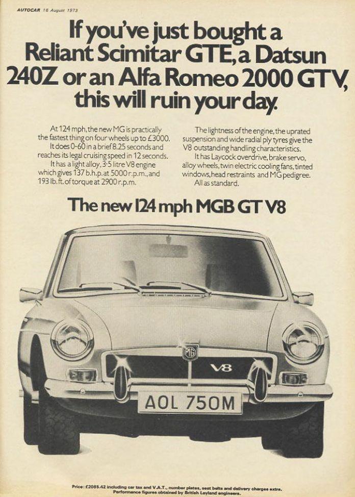MGB GT V8 ad 1973